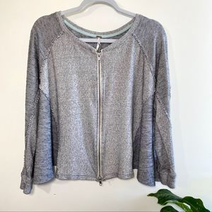 Free people zip up knit sweater jacket size small